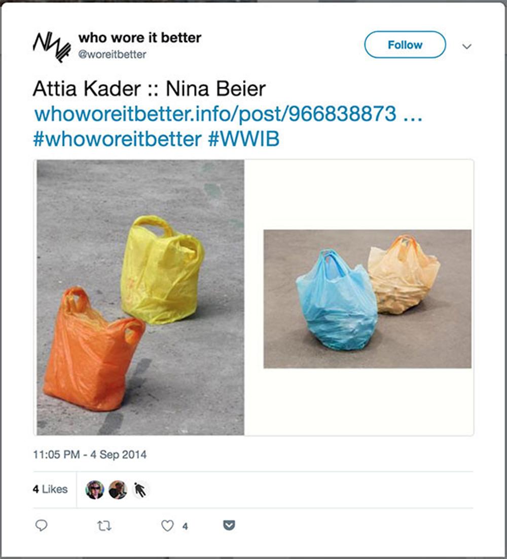 트위터 계정 @woreitbetter의 스크린샷. 블로그로 시작되었던 해당 트위터 계정은 형식적으로 유사한 작품들을 비교해놓고 있다.