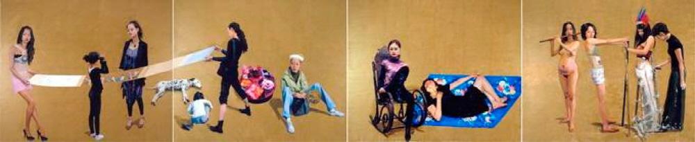 ([도판 2] 유 홍(Yu Hong, 1966-), , 2008. 캔버스에 아크릴, 4판넬. 250x1200 cm. 장 쉬안(Zhang Xuan, 713-755), 를 참조.)
