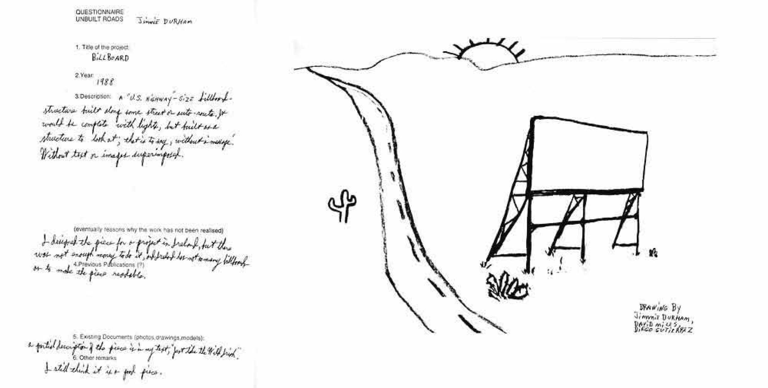 지미 더햄  1988. 한스 울리히 오브리스트와 가이 토토사가 편집한 《Unbuilt Roads: 107 Unrealised Project》(Hatje Cantz, 1977) 수록 삽화